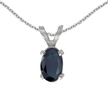 14k White Gold Oval Sapphire Pendant
