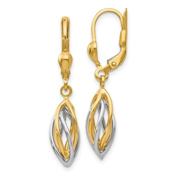 14K Two-Tone Polished Dangle Leverback Earrings