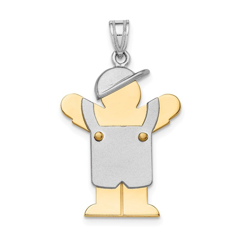 Quality Gold 14k Two-Tone Large Boy with Hat on Left Engravable Charm