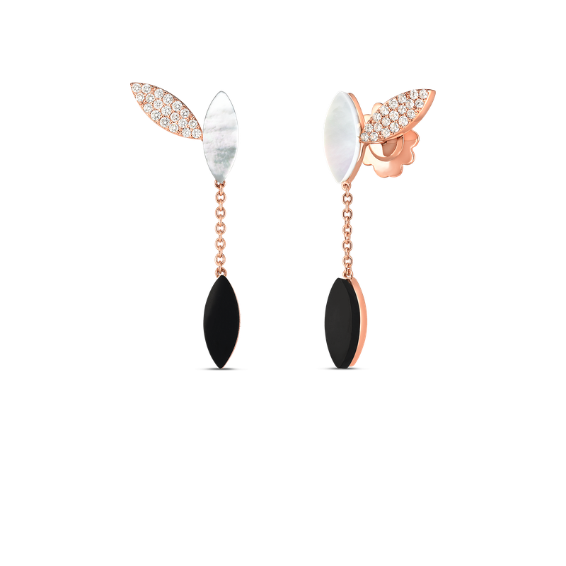 Roberto Coin 18Kt Gold Petal Earrings With Diamonds, Mother Of Pearl And Black Jade