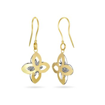 14K YW Flower Shape Dangling Earring