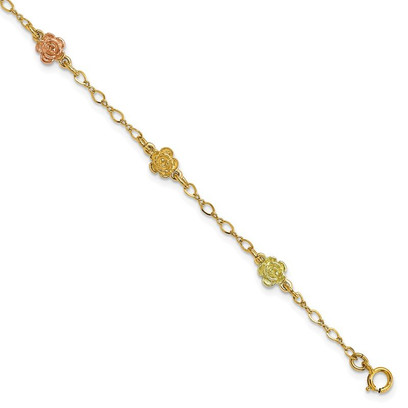 Quality Gold 10k Yellow & Rose Gold Black Hills Roses Bracelet