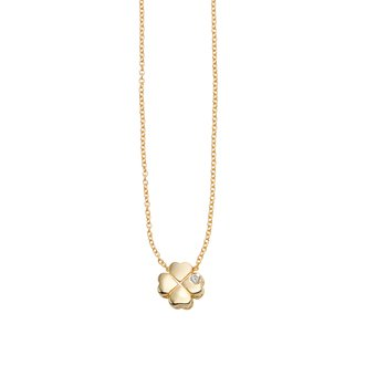 14K Gold .005ct Diamond Clover Necklace