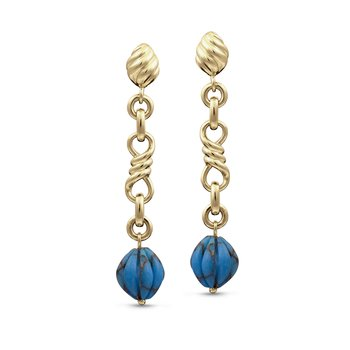 LuvMyJewelry Firefly Turquoise Dangle Earrings in Sterling Silver & 14 KT Yellow Gold Plating