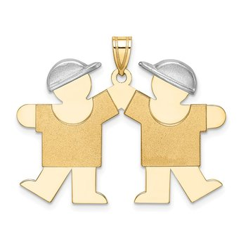 14k Two-Tone Large Double Boys Engravable Charm