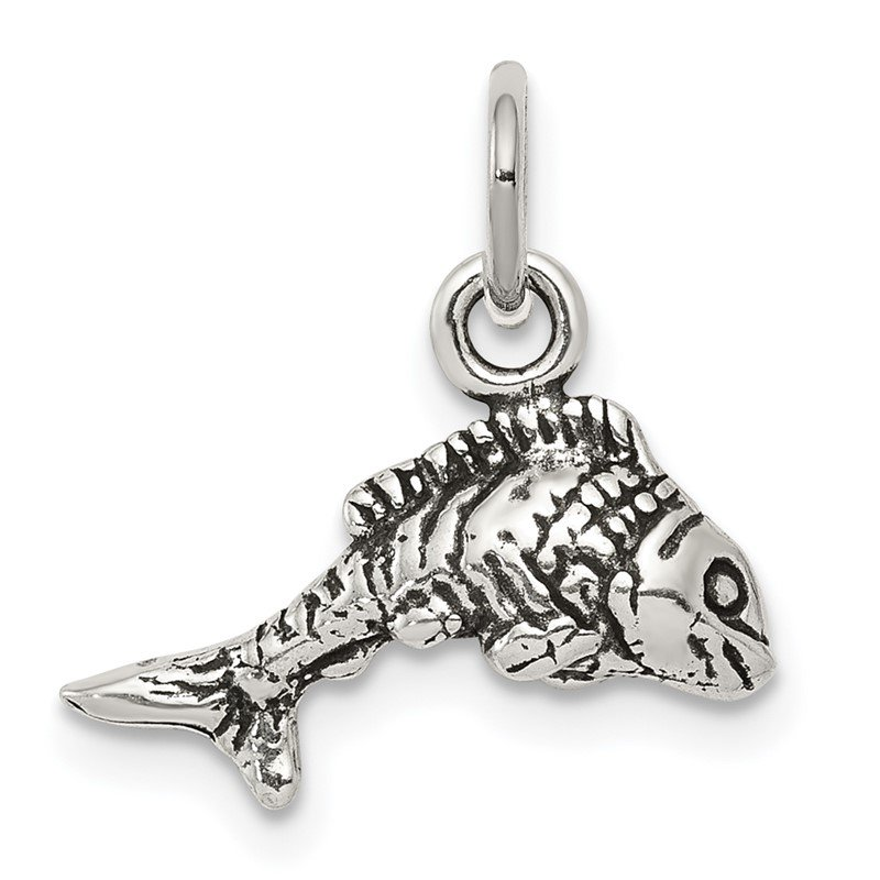 Quality Gold Sterling Silver Antiqued Fish Charm