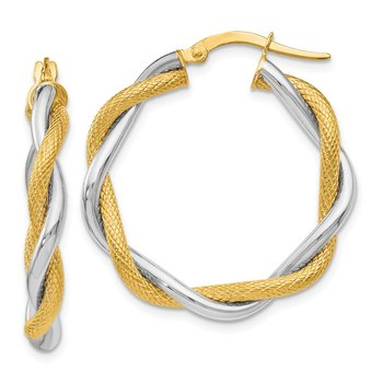 Leslie's 14K Two-tone Polished & Textured Twisted Hoop Earrings