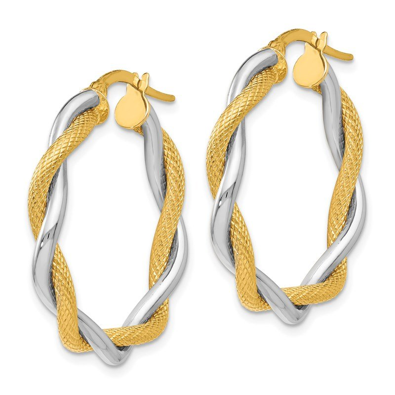 Leslie's Leslie's 14K Two-tone Polished & Textured Twisted Hoop Earrings