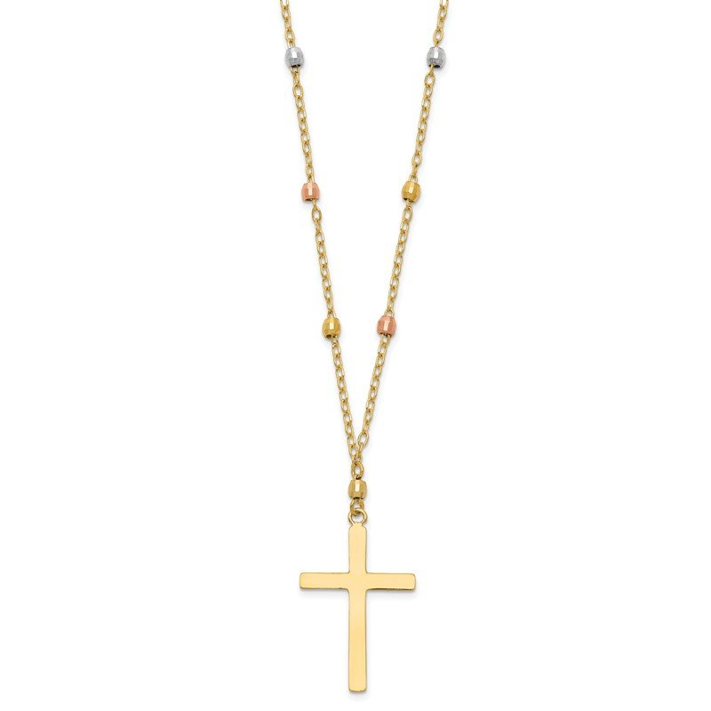 Quality Gold 14K Tri Colored Gold Diamond Cut Beaded Cross Necklace