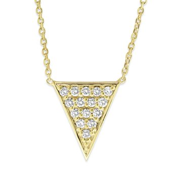 Diamond Pave Triangle Necklace in 14K Yellow Gold with 15 Diamonds Weighing  .32ct tw