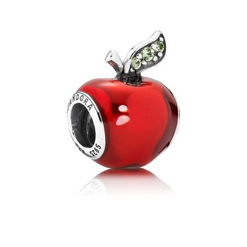 Disney, Snow White's Apple Charm, Red Enamel Light Green Cz