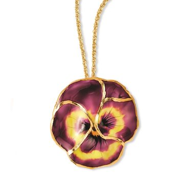 24K Gold-trim Lacquer Dipped Violet Pansy 20 inch Gold-tone Necklace