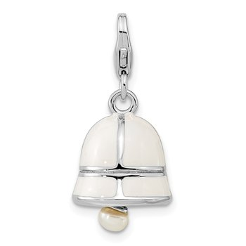SS RH FW Cultured Pearl White Enamel Bell w/Lobster Clasp Charm