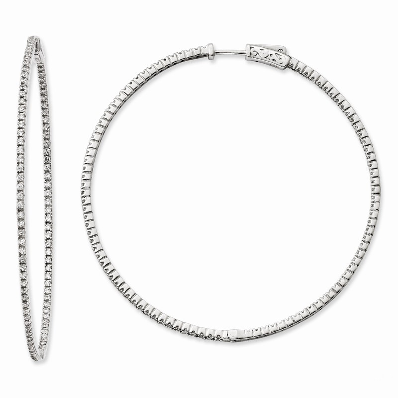 925 Sterling Silver Polished Curvy Round CZ In /& Out Hoop Earrings by Sterling Shimmer