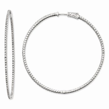Sterling Silver Rhodium-plated CZ 194 Stones In & Out Round Hoop Earrings