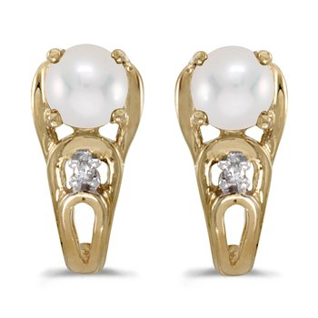 10k Yellow Gold Pearl And Diamond Earrings