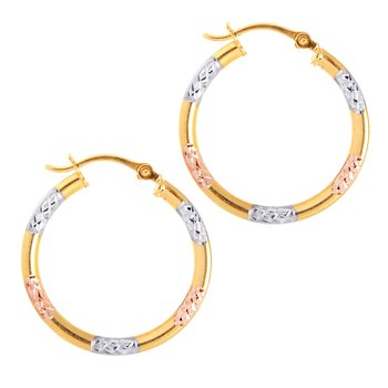 10K Gold Diamond Cut Hoop Earring