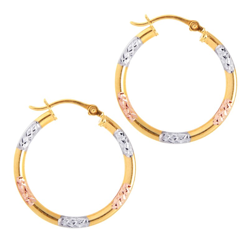 Royal Chain 10K Gold Diamond Cut Hoop Earring