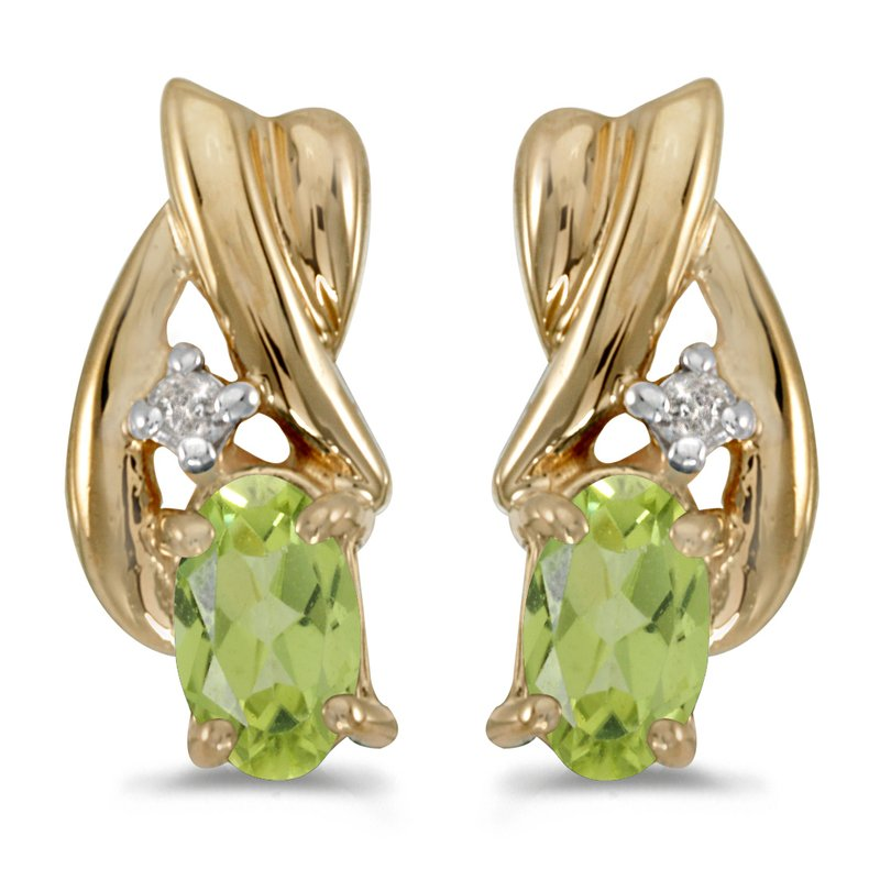 Color Merchants 10k Yellow Gold Oval Peridot And Diamond Earrings