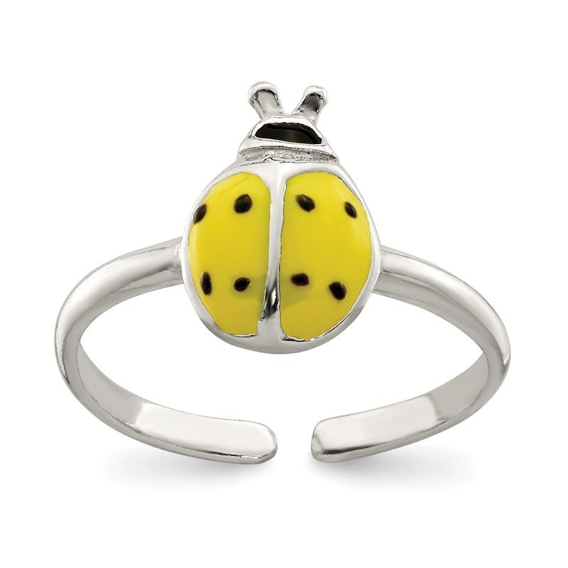 Quality Gold Sterling Silver Enameled & Polished Lady Bug Toe Ring