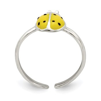 Sterling Silver Enameled & Polished Lady Bug Toe Ring