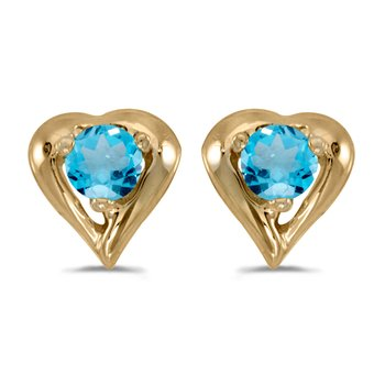 14k Yellow Gold Round Blue Topaz Heart Earrings