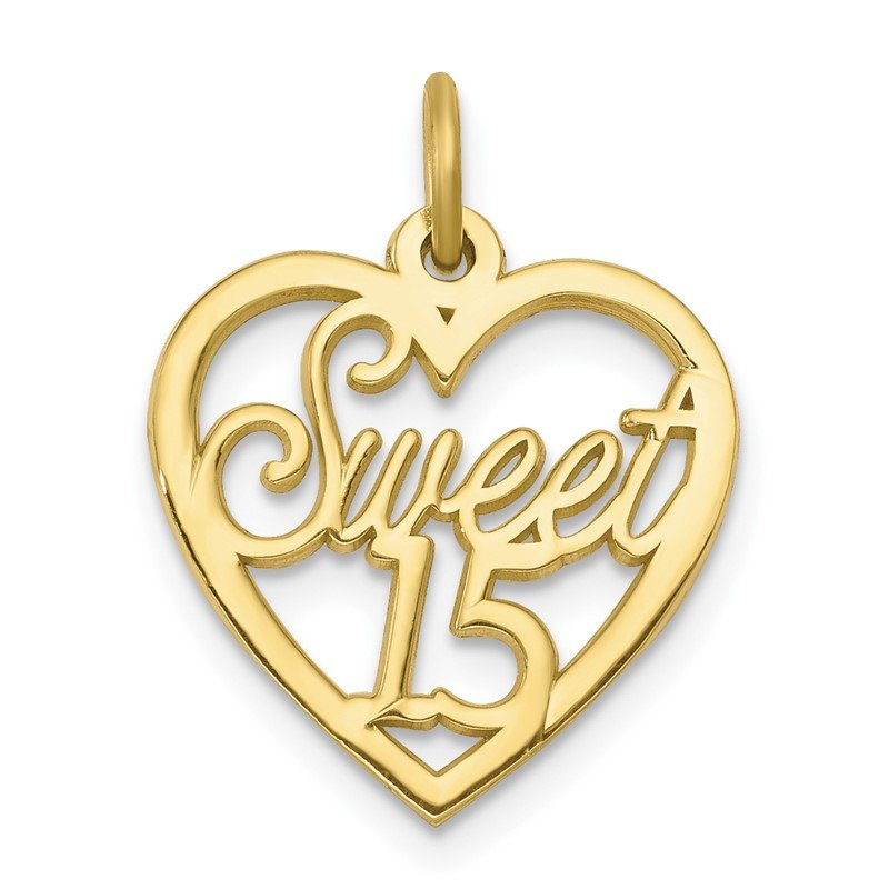 Quality Gold 10K SWEET 15 In Heart Charm
