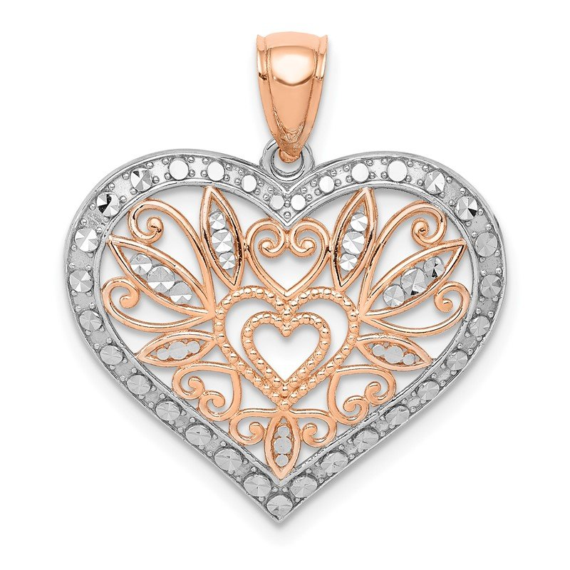 Quality Gold 14K Rose w/White Rhodium Polished Fancy Heart Pendant