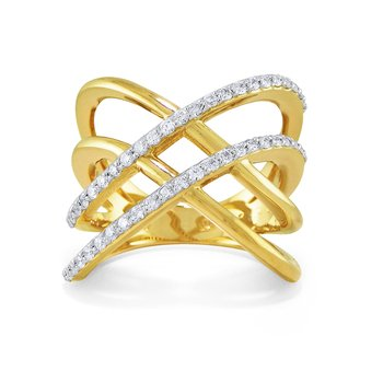 14K Diamond Double X Criss Cross Ring