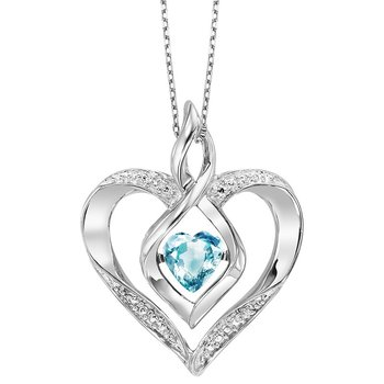 Diamond & Synthetic Blue Topaz Heart Infinity Symbol ROL Rhythm of Love Pendant in Sterling Silver