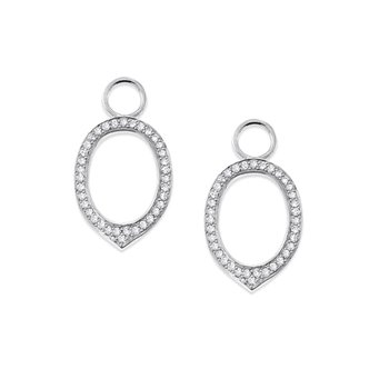 Diamond Oval Earring Charms in 14K White Gold with 72 Diamonds Weighing  .27ct tw