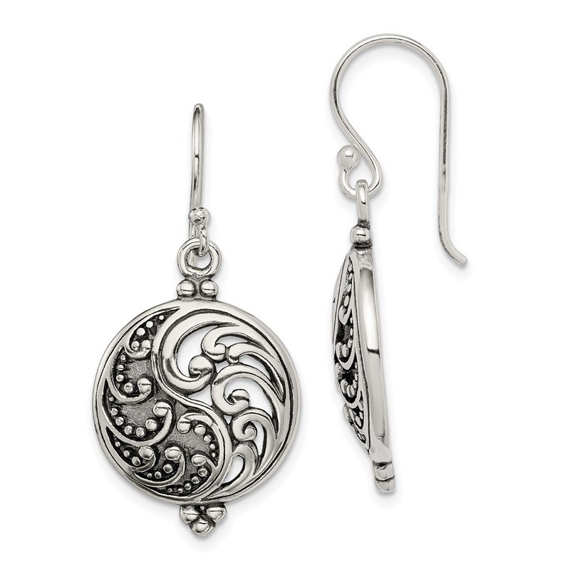 Quality Gold Sterling Silver Antique Filigree Yin and Yang Dangle Earrings