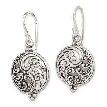Sterling Silver Antique Filigree Yin and Yang Dangle Earrings