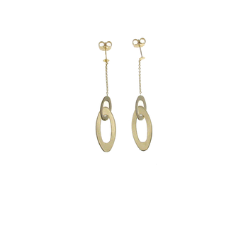 18Kt Gold Oval Drop Earrings