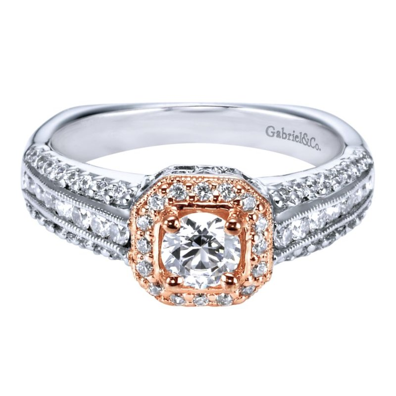 Gabriel Bridal Vintage 14K White-Rose Gold Round Halo Diamond Engagement Ring