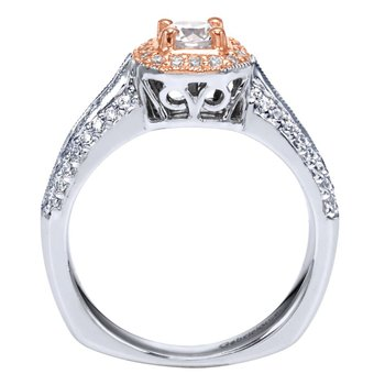 Vintage 14K White-Rose Gold Round Halo Diamond Engagement Ring