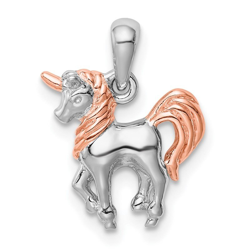 Quality Gold Sterling Silver Rhodium-plated Rose Gold-plated 3D Unicorn Pendant
