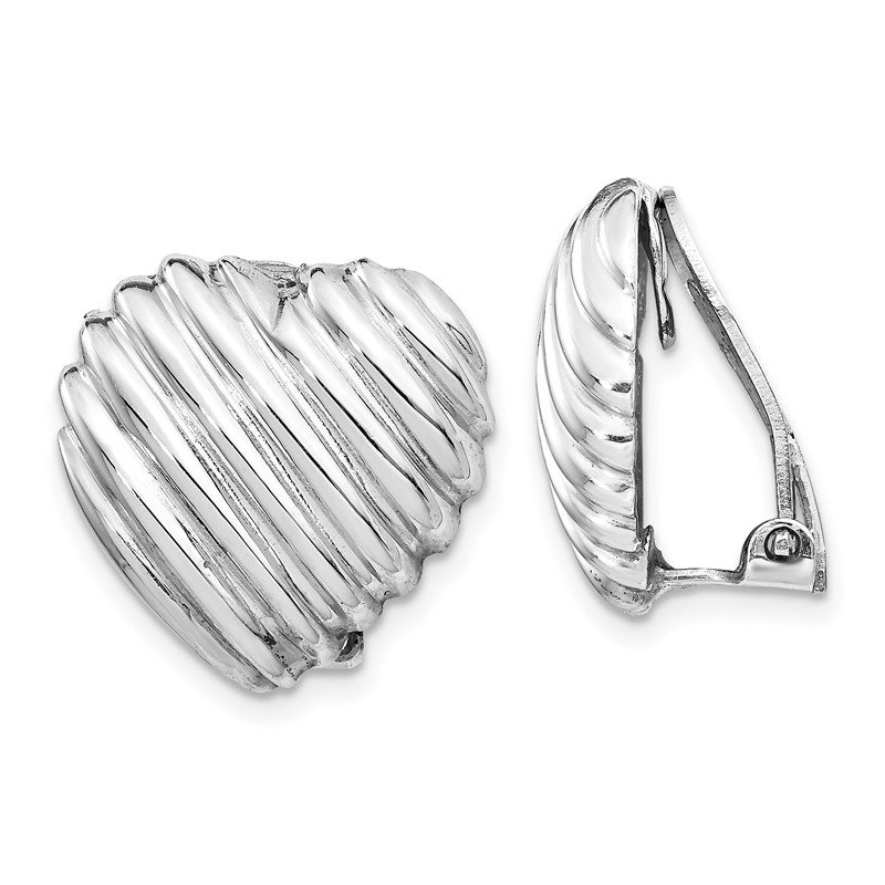 Quality Gold Sterling Silver Rhodium-plated Heart Clip Back Non-pierced Earrings