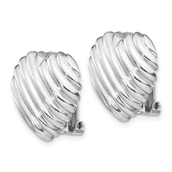 Sterling Silver Rhodium-plated Heart Clip Back Non-pierced Earrings