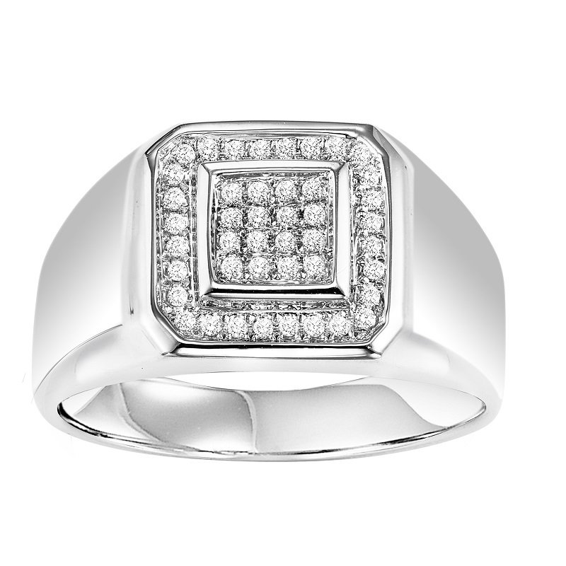 Silver Diamond Men's Ring 1/4 ctw