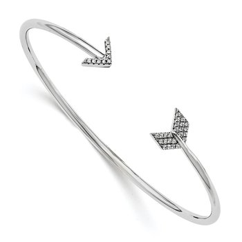 Sterling Silver Brilliant Embers Rhodium-plated CZ Arrow Bangle