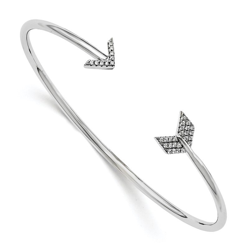 Quality Gold Sterling Silver CZ Brilliant Embers Arrow Bangle