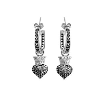 Small Hoops With Crowned Heart Drop - Silver And Black Cz Pave