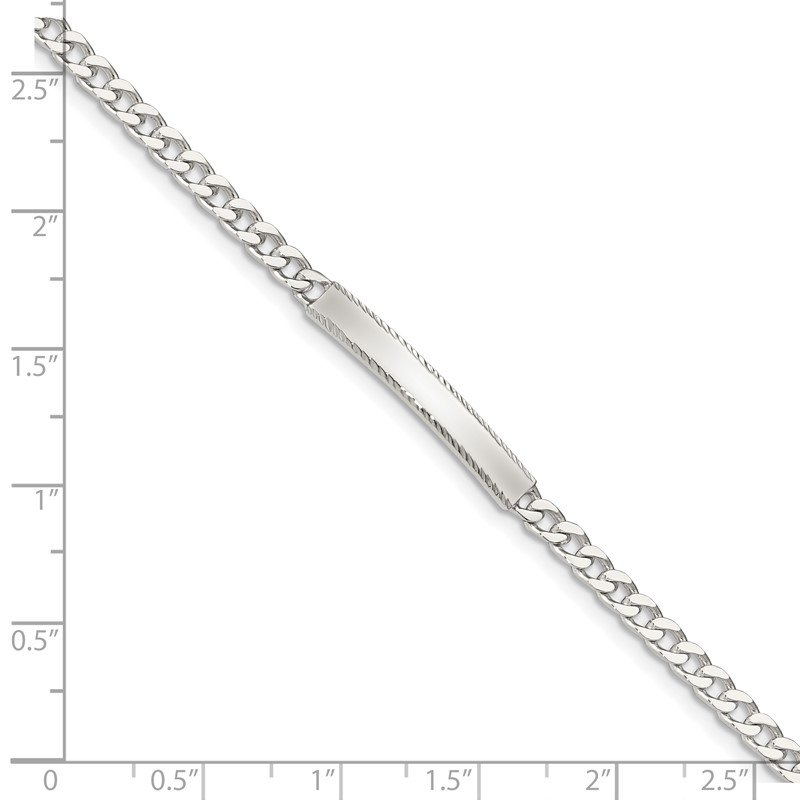 Quality Gold Sterling Silver Diamond-cut Engraveable Curb Link ID Bracelet