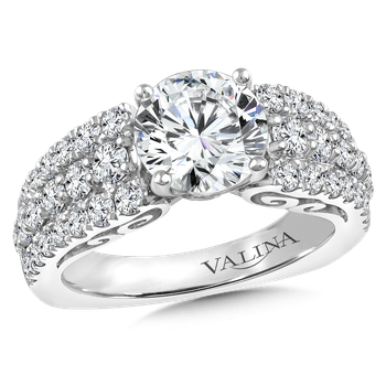 Diamond Engagement Ring Mounting in 14K White Gold (1.37 ct. tw.)