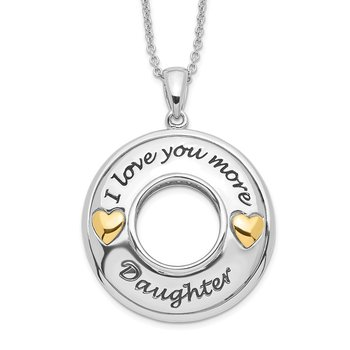 Sterling Silver GoldPlate Antique CZ I Love You More Daughter 18in Necklac