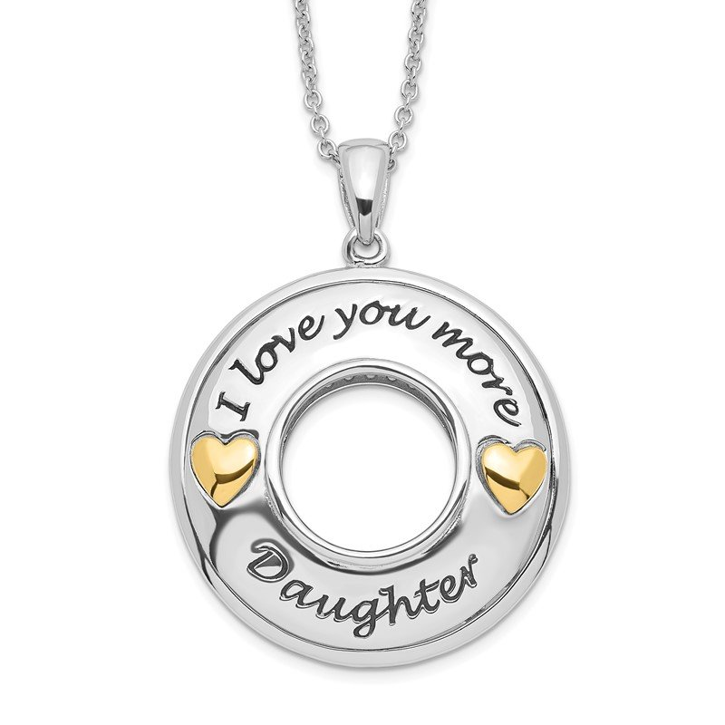 Quality Gold Sterling Silver GoldPlate Antique CZ I Love You More Daughter 18in Necklac