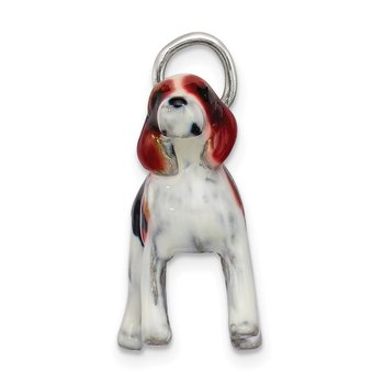 Sterling Silver Enameled Beagle Charm