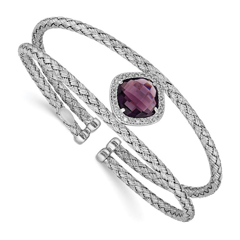 Quality Gold Sterling Silver Rhodium-plated Purple and Clear CZ Cuff Bangle