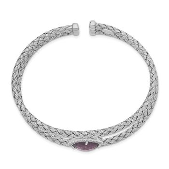 Sterling Silver Rhodium-plated Purple and Clear CZ Cuff Bangle
